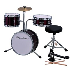 Spectrum Music Junior Drum Set with Throne - Bass Pedal and Drum Sticks - Red and Chrome