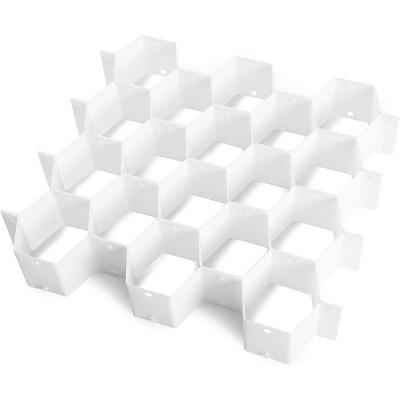 "2 Pack Plastic Honeycomb 18-Slot Drawer Dividers Storage Organizer for Socks Belt Underwear 14""x12""x2.4"", White"