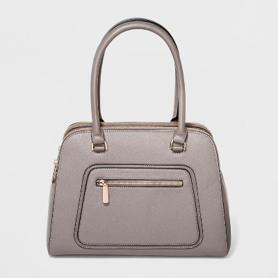 Satchel With Front Zipper Pocket - A New Day™ Gray
