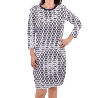 Touched by Nature Womens Organic Cotton Long-Sleeve Dress, Navy Trellis
