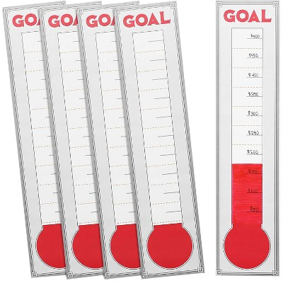 Goal Setting Wall Chart Thermometer (5 Pack)