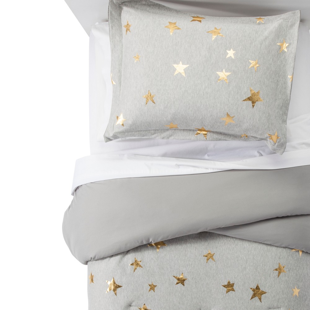 Image of 2pc Twin Jersey Stars Comforter Set Gray & Gold - Pillowfort