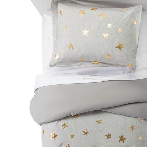 . 3pc Full Queen Jersey Stars Comforter Set Gray   Gold   Pillowfort