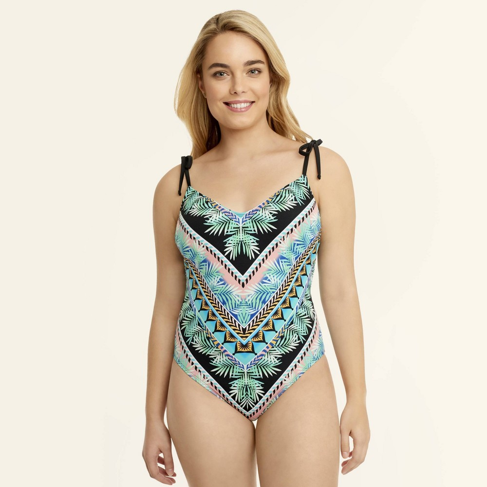 b3a98b009c2 Beach Betty by Miracle Brands Womens Slimming Control Palm One Piece One  Piece Swimsuit Palm Engineer XL Multicolored