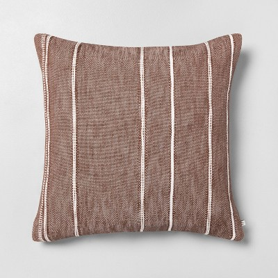 "24"" x 24"" Stripe Pattern Oversized Decor Pillow Pumpkin Brown - Hearth & Hand™ with Magnolia"