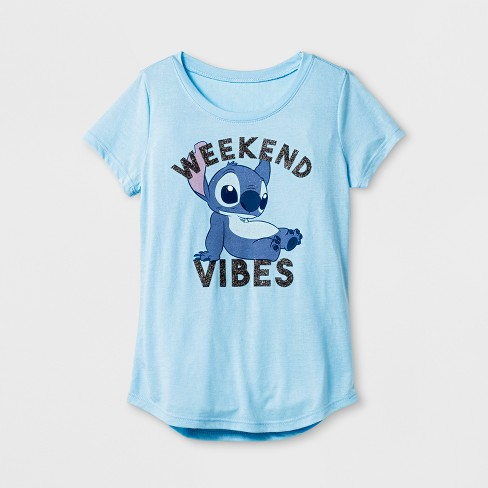 edeb2d74c4c Girls  Lilo   Stitch Weekend Vibes Graphic Short Sleeve T-Shirt - Light  Blue L   Target