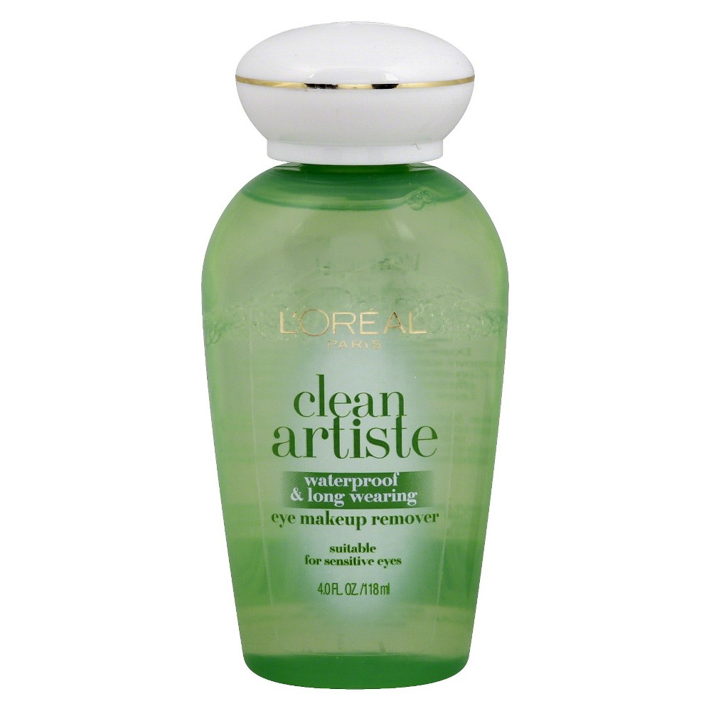 L'Oreal Paris Clean Artiste Waterproof and Long Wearing Eye Makeup Remover 4 fl oz, Clear