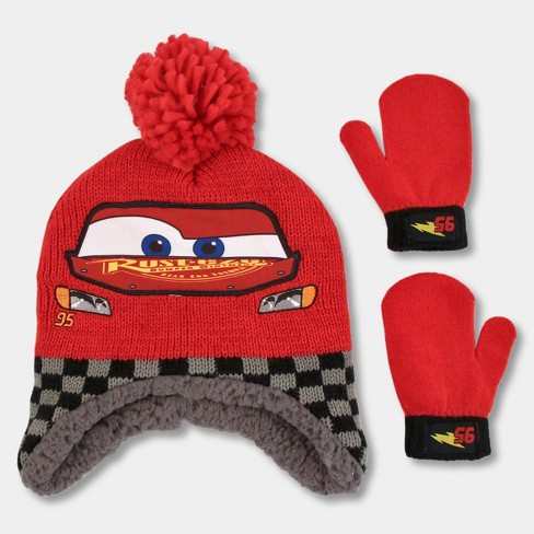0f33f0c7c94a4 Toddler Boys  Disney Cars Hat And Mitten Set - Red One Size   Target