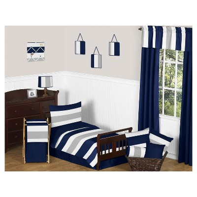 Navy & Gray Stripe Bedding Set (Toddler) - Sweet Jojo Designs