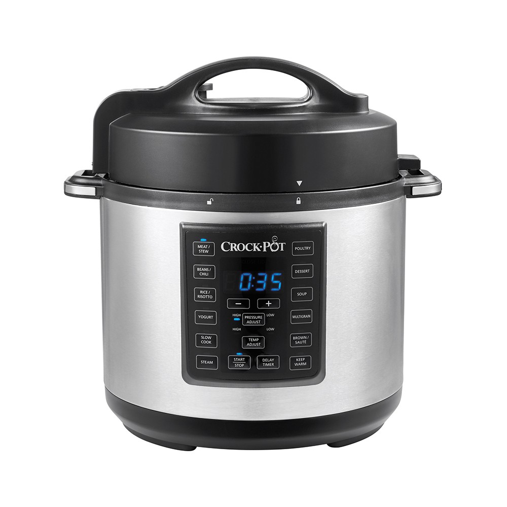 Crock-Pot Express Crock 6qt Pressure Cooker Slow Cooker 8-in-1 Multi-Cooker Stainless Steel SCCPPC600-V1, Black
