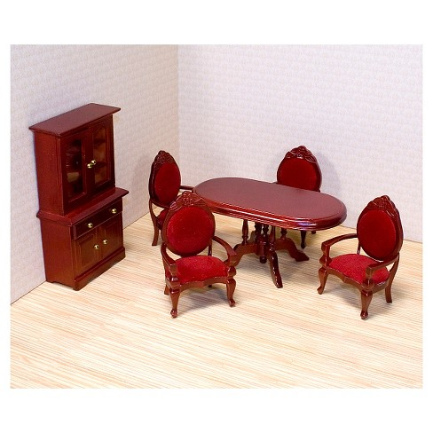 Melissa Doug Clic Wooden Dollhouse Dining Room Furniture 6pc Table Armchairs Hutch Target