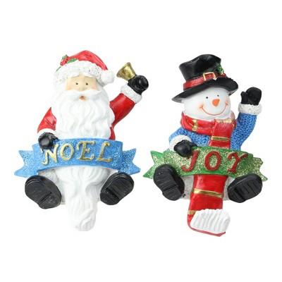 "Northlight Set of 2 Santa and Snowman Glittered Christmas Stocking Holders 6.25"""
