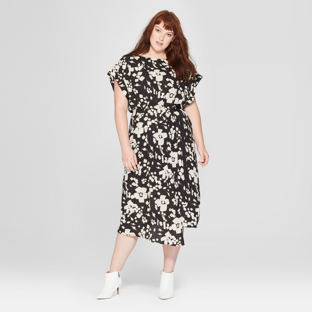 Women's Plus Size Floral Print Short Sleeve Pleated Wrap Dress - Prologue Black/White 2X