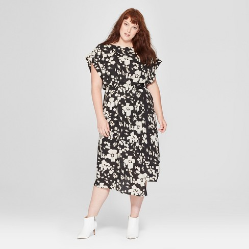 187544431b0 Women s Plus Size Floral Print Short Sleeve Pleated Wrap Dress - Prologue™  Black White   Target