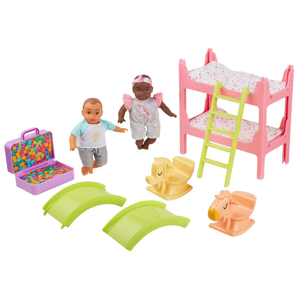 Perfectly Cute My Lil 39 Baby Bunk Bed Playroom Playset With 8 34 Brunette Baby Boy 38 Brunette Baby Girl Dolls