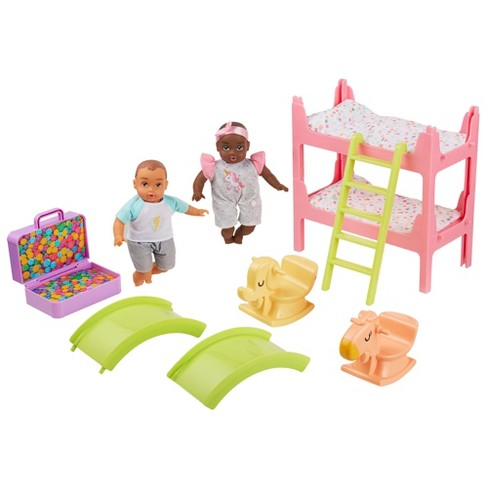 "Perfectly Cute My Lil' Baby Bunk Bed Playroom Playset with 8"" Brunette Baby Boy & Brunette Baby Girl Dolls - image 1 of 4"