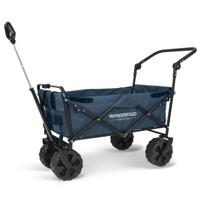 WonderFold Pull & Push Collapsible Utility Folding Wagon w/ Wide Tire, Blue