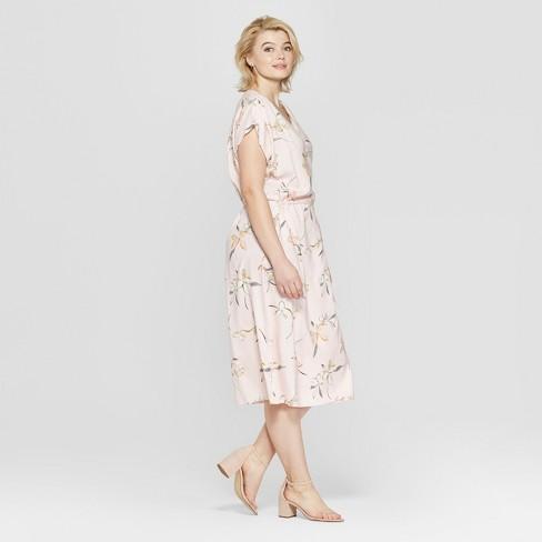 270f29d850af4 Women's Plus Size Floral Print Short Sleeve Wrap Midi Dress - Ava & Viv™  Pink. Shop all Ava & Viv