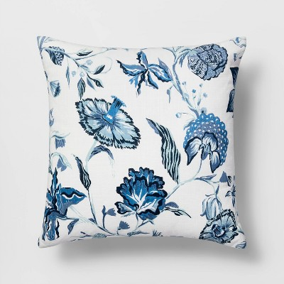 Square Jacobean Pillow White/Blue - Threshold™