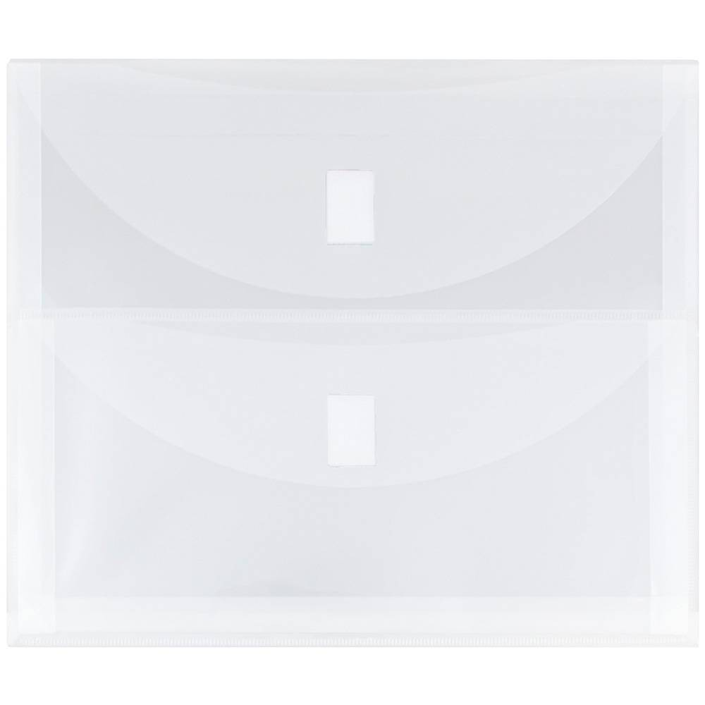 Jam Paper Plastic 2 Pocket Envelopes with Hook & Loop Closure, Letter Booklet, 9 3/4'' x 13'', Clear Poly, Medium Clear Jam Paper Plastic 2 Pocket Envelopes with Hook & Loop Closure, Letter Booklet, 9 3/4'' x 13'', Clear Poly Color: Medium Clear.