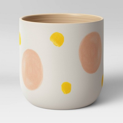 "8"" Ceramic Stoneware Planter White with Yellow/Pink Dots - Project 62™"
