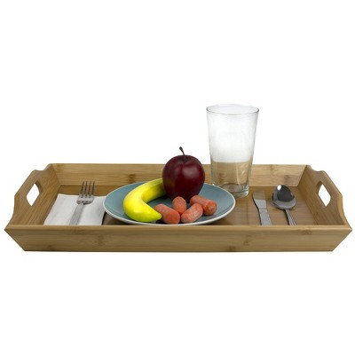 Home Basics Curved Bamboo Serving Platter Tray with Easy Grip Cut-Out Handles, Natural