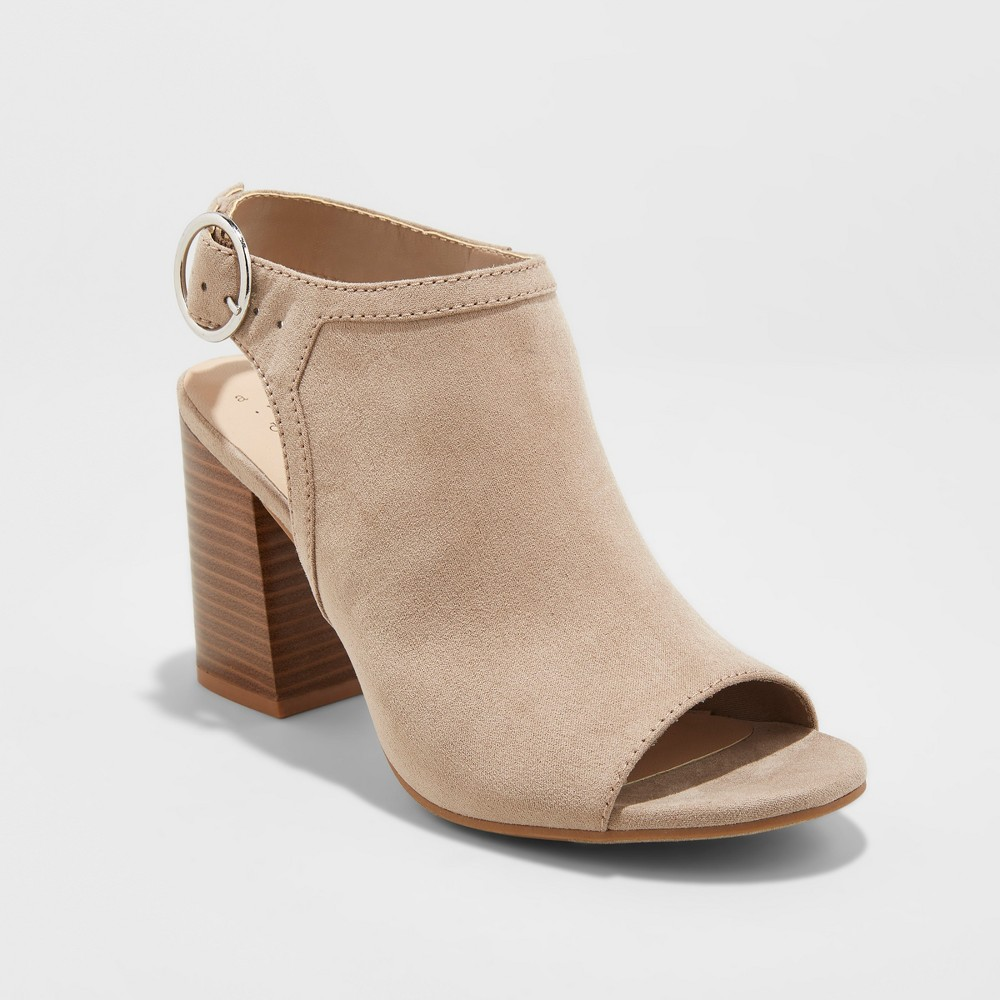 Women's Rhea Open Toe Stacked Heeled Pumps - A New Day Almond Cream 12