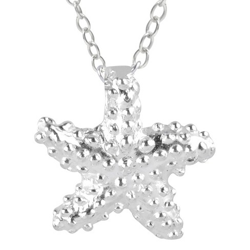 "Women's Journee Collection Textured Starfish Pendant Necklace in Sterling Silver - Silver (18"") - image 1 of 2"