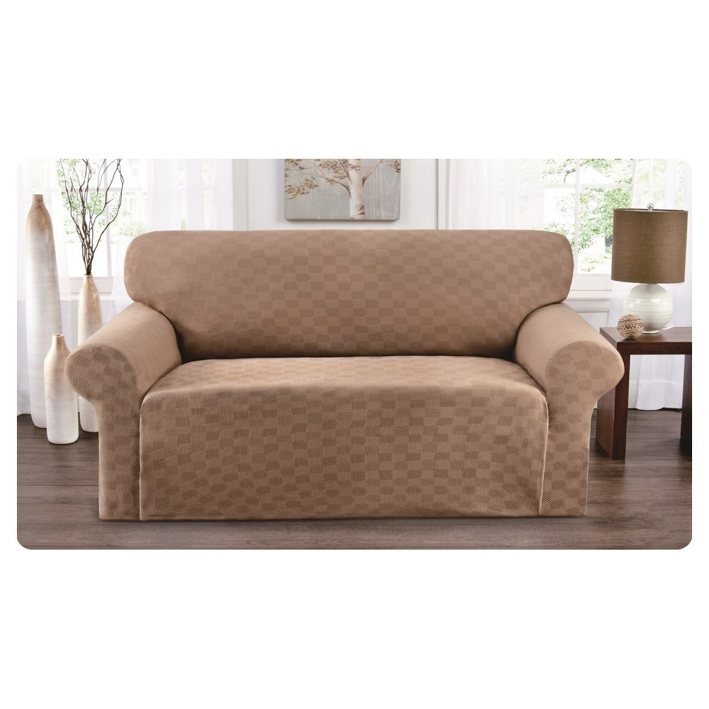 Image of Beige Solid Sofa Slipcover