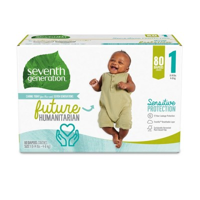 Seventh Generation Sensitive Protection Diapers Super Pack - Size 1 - 80ct