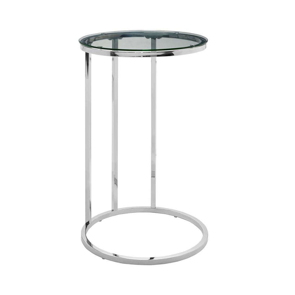 "Image of ""16"""" Round C Table Glass/Chrome - Saracina Home, Glass/Grey"""