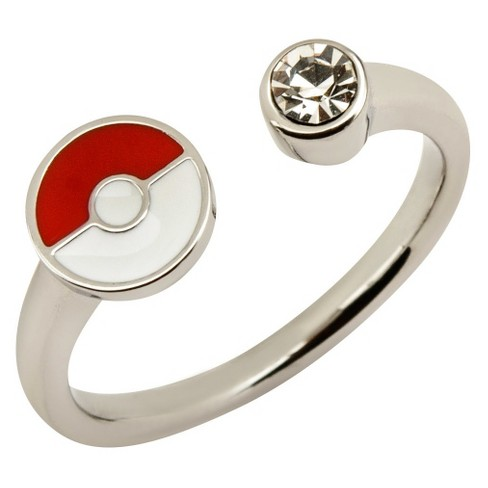 Womens PokemonTM Poke Ball Stainless Steel With Clear Gem Open Ring