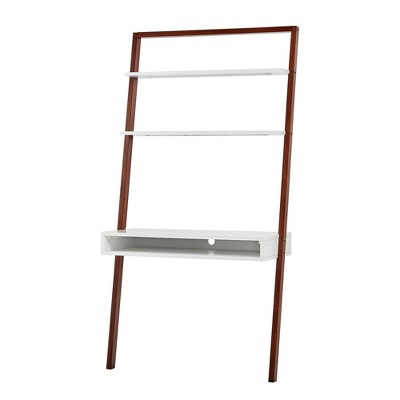 """38"""" Phyliss White Metal Leaning Desk and Ladder Shelves - Inspire Q"""
