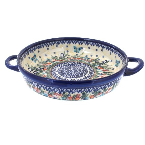 Blue Rose Polish Pottery Garden of Eden Small Round Baker with Handles - image 1 of 1