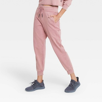 Women's Mid-Rise French Terry Acid Wash Jogger Pants with Side Panel - JoyLab™ Rose S
