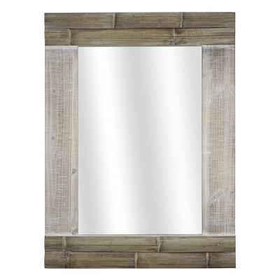 "30.8"" x 23"" Rustic Bamboo Wood Framed Wall Vanity Mirror Brown - American Art Decor"