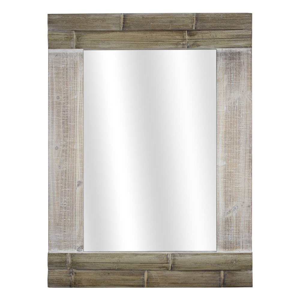 "Image of ""22.83x2.36""""x30.71"""" Wood Wall Mirror Brown - E2 Concepts"""