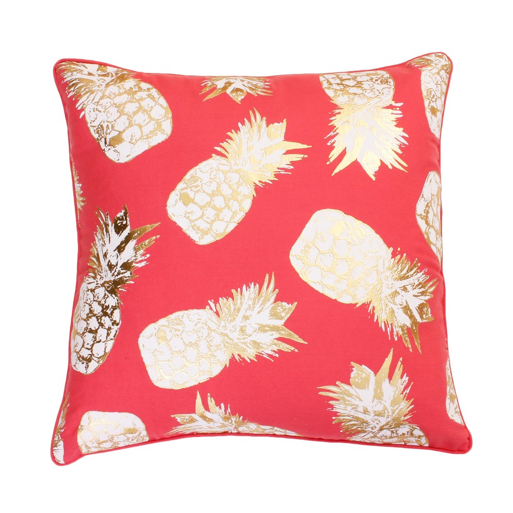 Image of Saugus Pineapple Oversize Square Throw Pillow Gold/Pink - Décor Therapy, Pink/Gold