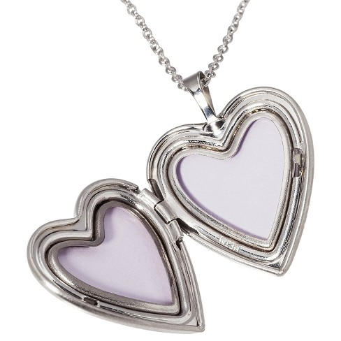 silver plated pendant necklace with engraved heart locket target
