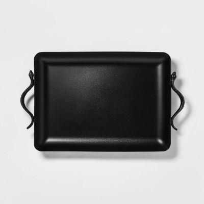 20  x 12  Metal Tray with Snake Handles Black - Threshold™