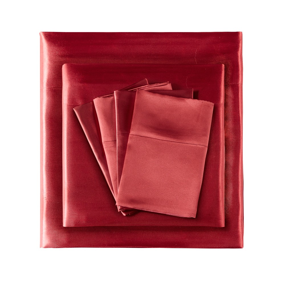 Full Solid Satin 6pc Wrinkle Free Luxurious Sheet Set Red