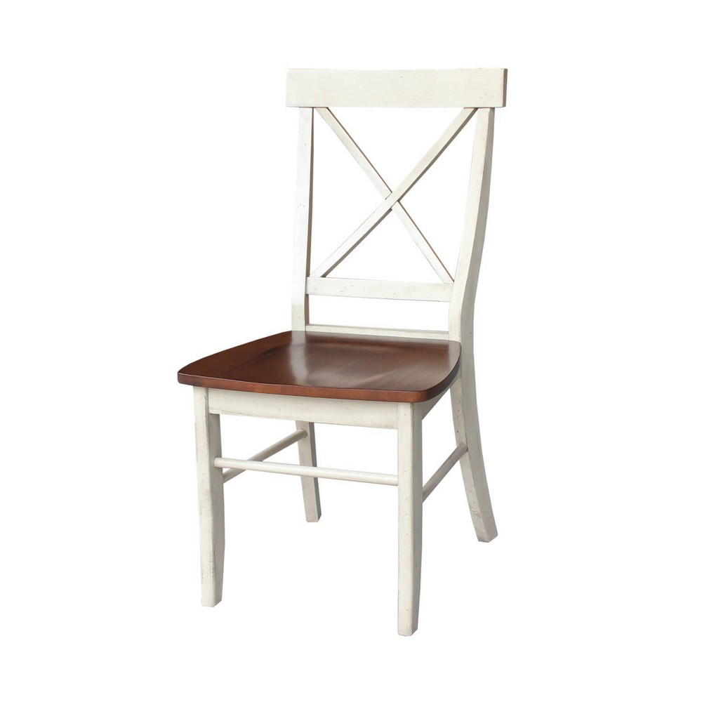 Set Of 2 X Back Chairs With Solid Wood Seats Antiqued Almond Espresso International Concepts