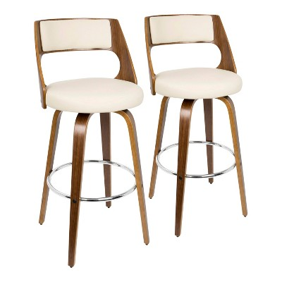 Set of 2 Cecina Mid-Century Modern Barstools with Swivel Faux Leather - Lumisource