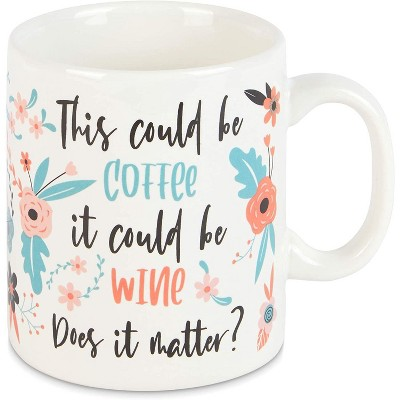 Okuna Outpost White Ceramic Coffee Mug Tea Cup 15 Oz, This Could Be Coffee It Could Be Wine Does It Matter