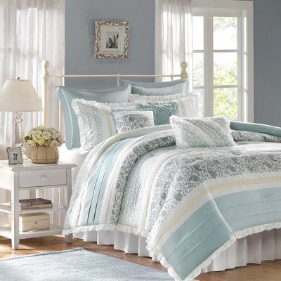 Stella 9 Piece Comforter Set - Blue (Queen)