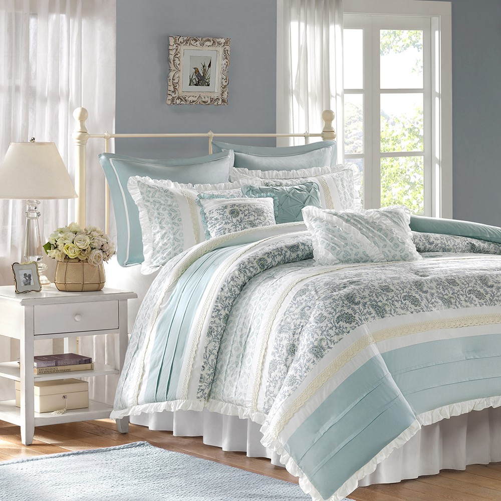 Stella 9 Piece Comforter Set - Blue (King)