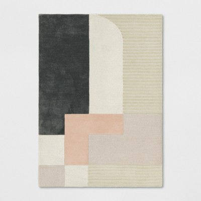 5'X7' Block Tufted Area Rug Pink/Tan/Black - Project 62™