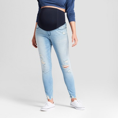 Maternity Crossover Panel Skinny Jeans - Isabel Maternity by Ingrid & Isabel™ Light Wash 10
