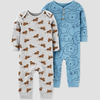 Baby Boys' 2pk Lion Jumpsuits - Just One You® made by carter's Turquoise Blue 9M