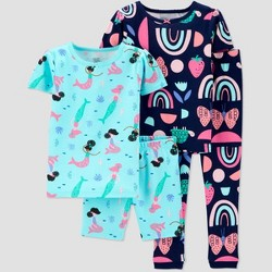 Toddler Girls' 4pc 100% Cotton 'Mermaid' Pajama Set - Just One You® made by carter's Blue
